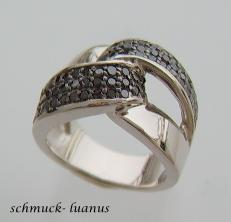 Silber Ring Zirkonia Pave schwarz
