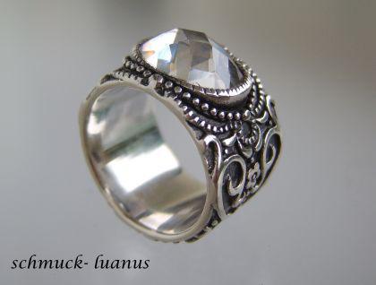 Silber Ring breit Zirkonia