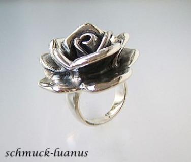 Rose Ring Silber groß Rosenring Damenring