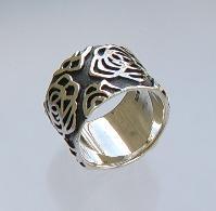 Breiter Silberring mit Muster - Vorschau 3