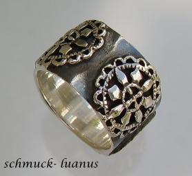 Silber Ring breit oxydiert