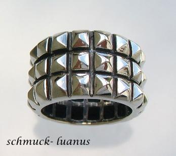 Ring Silber breit Nietenring