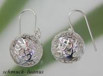 Silber Ohrringe Kugel filigran