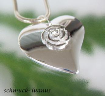 Herzanhänger Silber groß Rose 925 Sterling