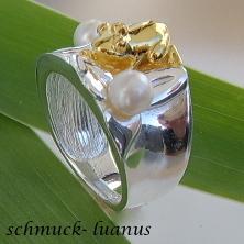 Frosch Ring Silber Perlen