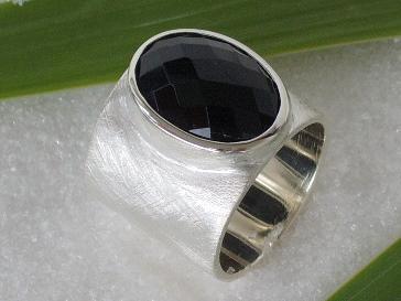Silber Ring Onyx breit
