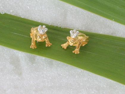 Frosch Ohrstecker Silber vergoldet