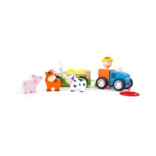 Holztraktor Bauer mit Tieren - Vorschau 1