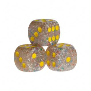 Würfel - Las Vegas - transparent gelb - Kunststoff - 16 mm