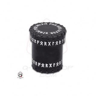 Runic Leather Dice Cup - Black
