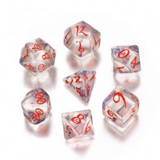Classic RPG Würfel-Set - 7 Stück - transparent blau und rot