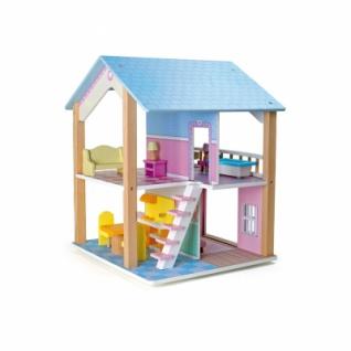 Puppenhaus Blaues Dach 2 Etagen - drehbar - Vorschau