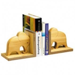 Bücherstütze aus geöltem Massivholz - Elefant -