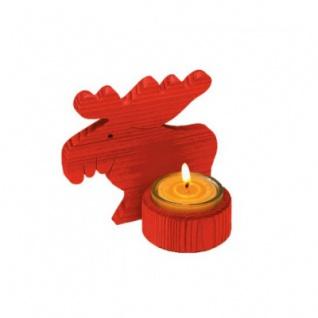 Elchlicht - rot - Kiefernholz - mit Teelichthalter - 14 cm