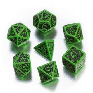 Celtic 3D Revised Würfel-Set - 7 Stück - grün und schwarz