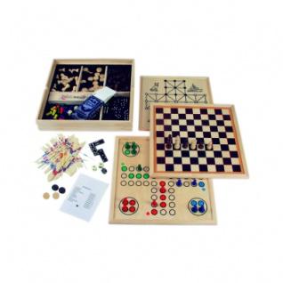 Hochwertige Spielesammlung - in Holzkassette - mit 10 Spielmöglichkeiten