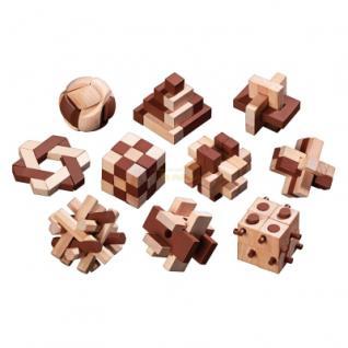 Holzpuzzle-Sortiment - 10 Puzzle - Denkspiel - Knobelspiel - Geduldspiel