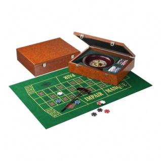 Roulette Set - Holzkassette - Wurzelholzdesign - 25cm