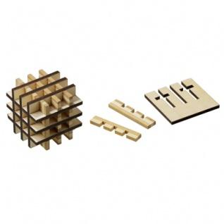 Grid-Cube - Bambus und Sperrholz - 18 Puzzleteile - Denkspiel - Geduldspiel