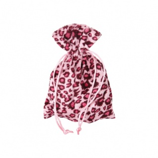 Säckchen - Beutel - Leoparden-Design - mit Kordel - ca. 120x165 mm - lang - schwarz - rosa