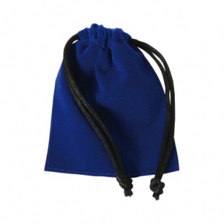 Samtbeutel - ca. 85 x 70 mm - lang - blau