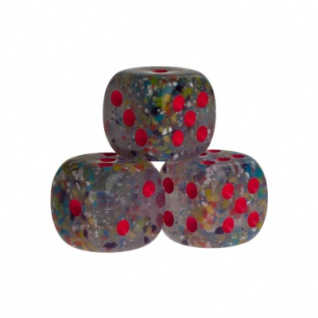 Würfel - Las Vegas - transparent rot - Kunststoff - 16 mm