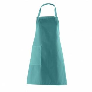 Latzschürze mit Seitentasche - petrol - türkis-grün - 75 cm
