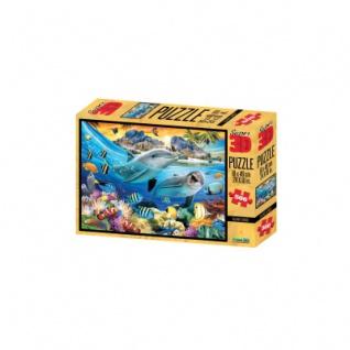 3D Puzzle - 500 Teile - Island Sunset - Meer - Delfine