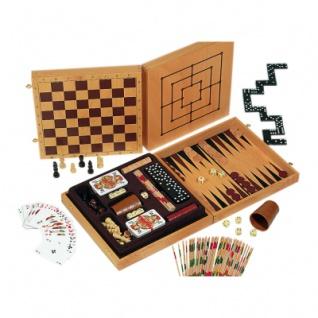 Exklusive Spielesammlung aus Holz - mit 6 Spieleklassikern und mehr