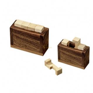Sarcophagus - Hevea- und Samena-Holz - 4 Puzzleteile - Knobelspiel - Geduldspiel