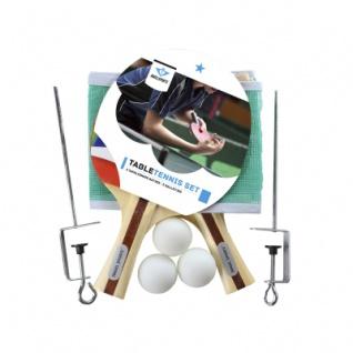Tischtennis-Set - 2x Schläger 1 Stern Noppengummi - Netz und 3 Bälle