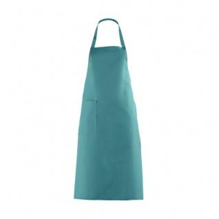 Latzschürze mit großer Tasche - petrol - türkis-grün - 100 cm