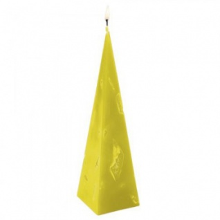 Kerze - handgearbeitet - Pyramiden-Form - gelb - ca 22 cm