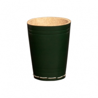Würfelbecher aus Leder - ca. 8, 5 cm x 6, 5 cm - grün