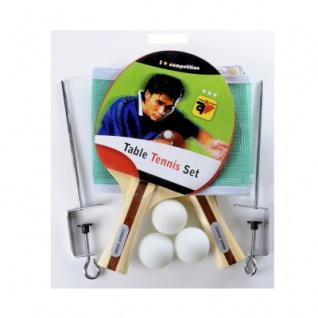 Tischtennis-Set - 2x Schläger 3 Stern - Netz und 3 Bälle