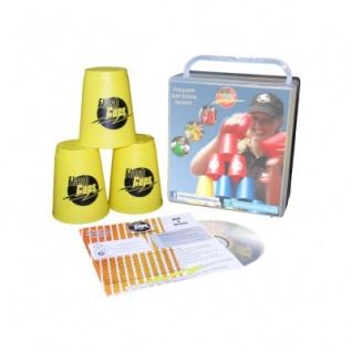 - FlashCups - 12 Stück - gelb mit Lunchbox+DVD