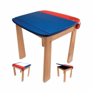 Kinder-Maltisch - mit Papierrolle - blau - 55cm hoch - Vorschau