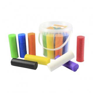 Knete - Glitzer - Eimer mit 8 Rollen - farbig