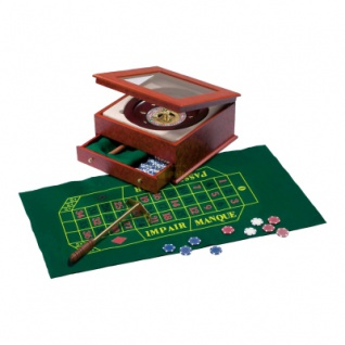 Roulette Set - Holzkassette - Wurzelholzdesign