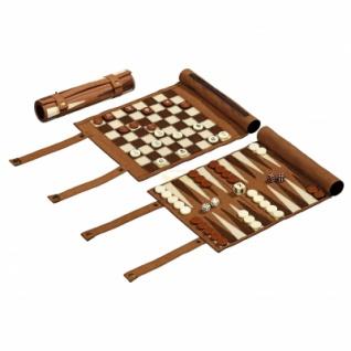 Reisespiel - Schach - Backgammon und Dame-Set - aufrollbar