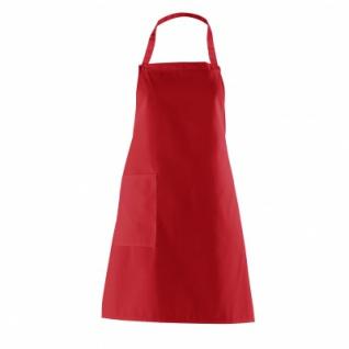 Latzschürze mit Seitentasche - rot - 75 cm