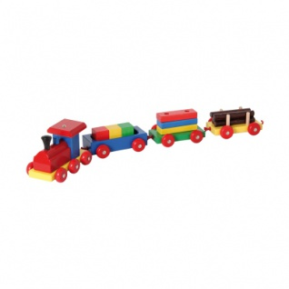 Holzgüterzug mit 3 Anhängern bunt