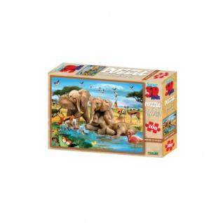 3D Puzzle Kids - 100 Teile - Making a Splash - Elefanten - Afrika