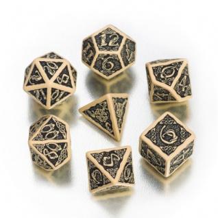 Celtic 3D Revised Würfel-Set - 7 Stück - beige und schwarz