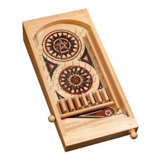 Mini Pinball Tischspiel - Hevea-Holz - mit Metallkugeln - gross