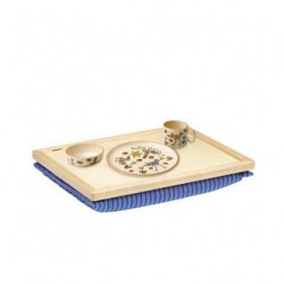 Balance-Tablett - Stoff grau-natur - Kissen abnehmbar - 44 x 34 cm