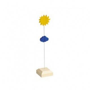 Kartenhalter - Sonne - massiver Holzfuß - 19 cm