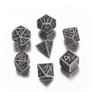 Dwarven Würfel-Set - 7 Stück - grau und schwarz