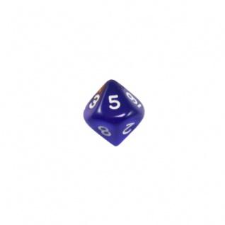 10-seitiger Würfel - Trapezoeder - W10 - 0-9 - transparent - blau