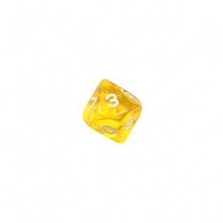 10-seitiger Würfel - Trapezoeder - W10 - 0-9 - transparent - gelb